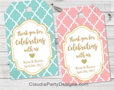 Wedding Favors Thank You Tags by Unique Personalized Printables Designs