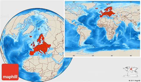 the entire world shaded relief location map of europe within the entire world