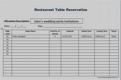 table reservation card template hotel reservation form template table reservation card