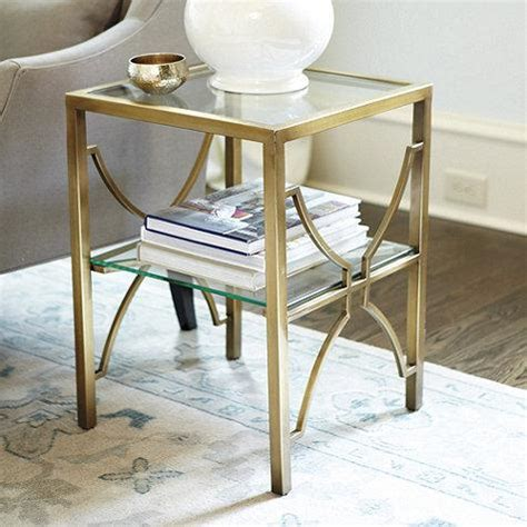 glass and brass end tables glass top brass side table