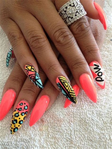 aztec pattern nail art 30 inspirational stiletto nails pictures