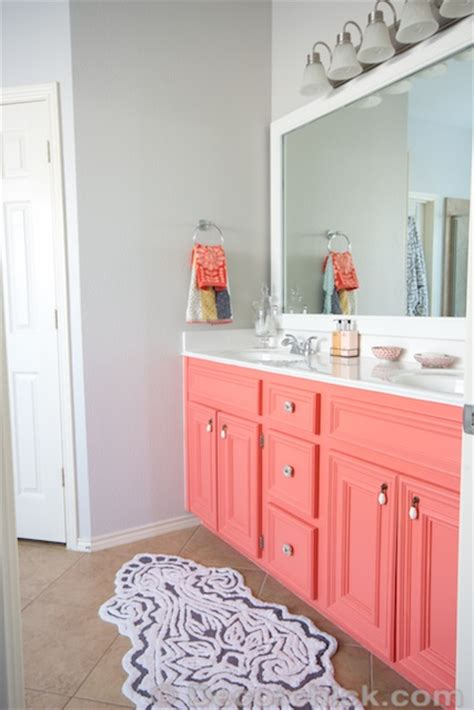gray and coral bathroom diy painted coral vanity decorchick