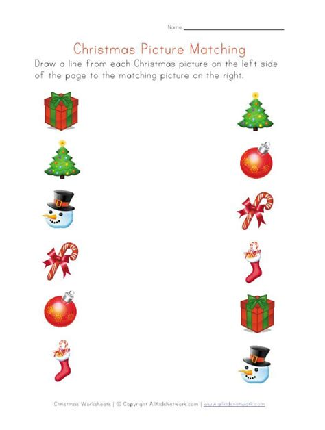 printable christmas activities for preschoolers christmas pictures matching worksheet pinned by