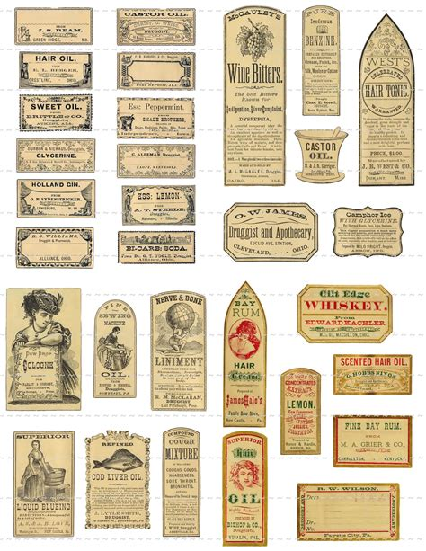 printable apothecary labels digital download collage sheet antique 1800 s vintage