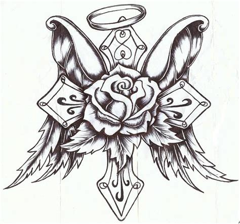 Cross Rose With Wings By P Nuthouse On DeviantArt sketch template