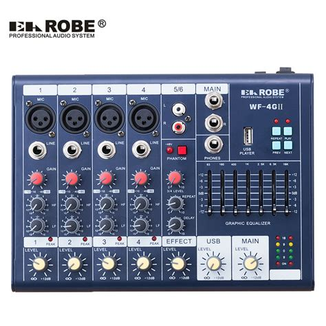 Mixer China 6 Channel wf 4gii audio mixer console with usb built in effect processor audio mixer 6 channel mixer