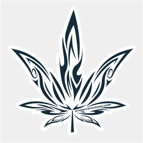 tribal pot leaf tattoo stoney stickers marijuana leaf decals tribal