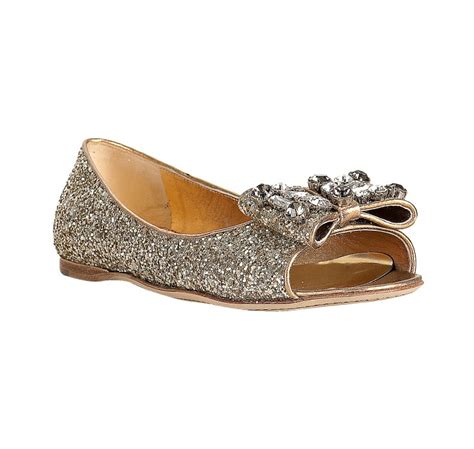 gold peep toe flat shoes miu miu silver glitter gold leather bow detail peep toe