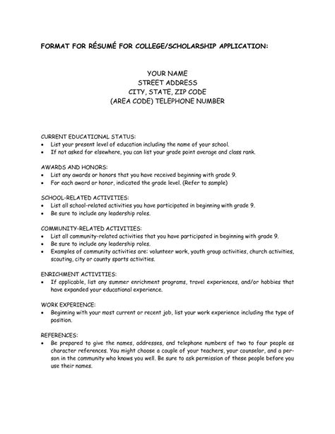Resume For Scholarship by College Scholarship Resume Template 1197 Http