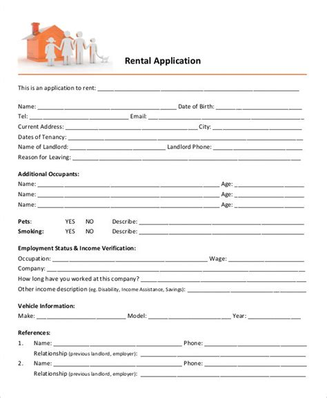 17 Printable Rental Application Templates Free Premium Templates Free Rental Application Template