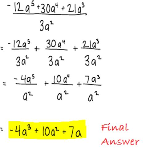 dividing polynomials by monomials worksheet worksheets