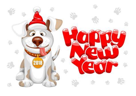 new year 2018 lucky animals 英文新年贺卡 2018年英文新年贺卡封面设计图片 素材之家