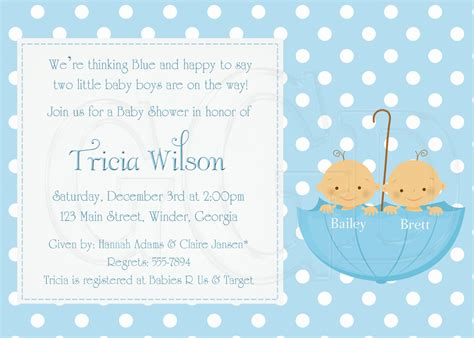 baby shower invitations templates for twins baby shower invitations for twin boys theruntime com
