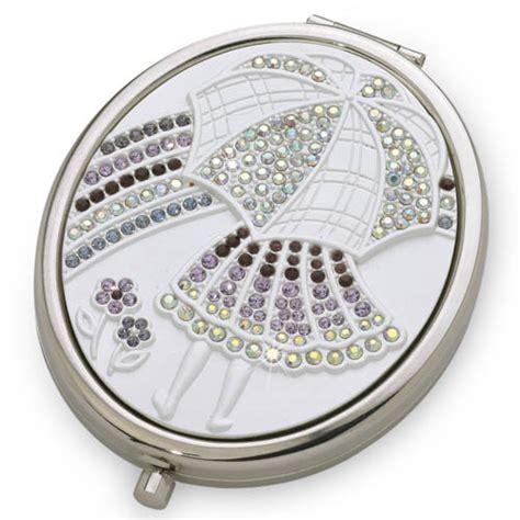 showers silver luxury compact mirror with