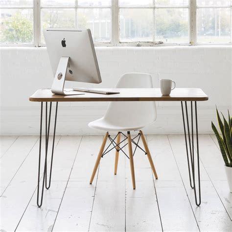 Iroko Midcentury Modern Hairpin Leg Desk By Biggs Quail Modern Desk Legs