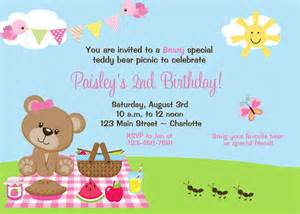 Teddy Picnic Invitation Template by Teddy Picnic Birthday Invitation By