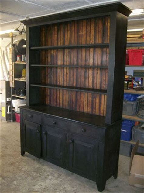 black milk painted hutch black brown combo for farm table