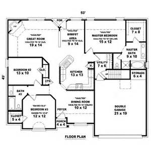 3bed 2bath floor plans 1725 square feet 3 bedrooms 2 batrooms 2 parking space on 1 levels house plan 14087 all