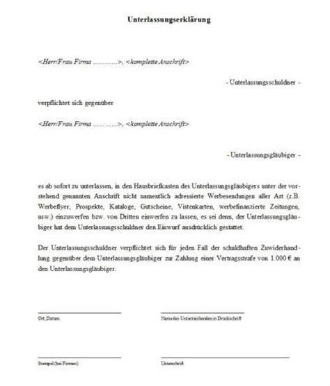 Muster Schreiben Abmahnung unterlassungserkl 228 rung muster freeware de