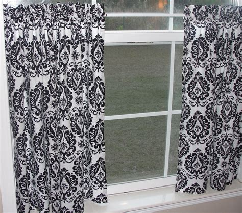 White Black Curtains Cafe Curtain Set 80 Wide Black And White Damask Print
