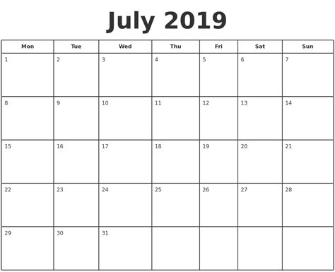 July 2019 Calendar Printable July 2019 Print A Calendar