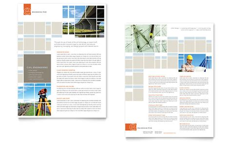 engineering brochure templates free civil engineers datasheet template design