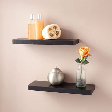oak wall mount shelf set   bathroom