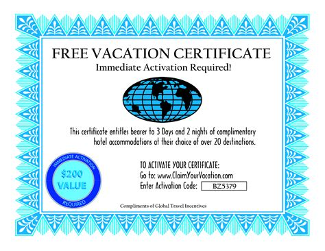 vacation certificate template best photos of travel gift voucher template gift voucher