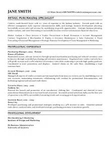 retail purchasing specialist resume