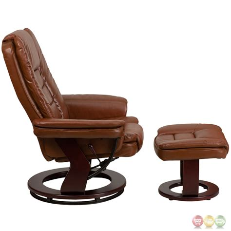 wood and leather recliner brown vintage leather recliner ottoman w swiveling