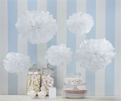 How To Make Ceiling Pom Poms by Pack Of Five White Tissue Paper Pom Poms By