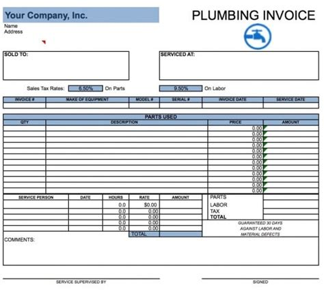 monthly invoice template excel free plumbing invoice template excel pdf word doc