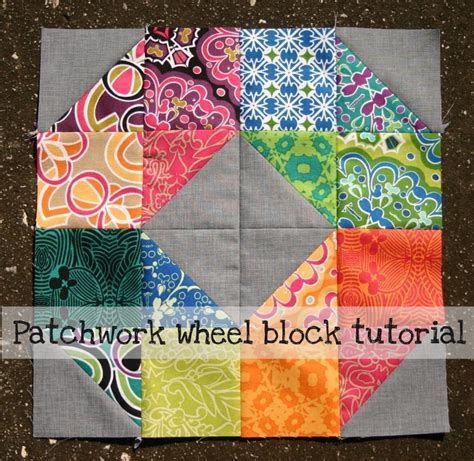 patchwork wheel quilt block tutorial by elizabeth dackson