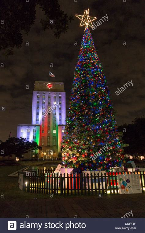 christmas tree lights and houston city hall light in