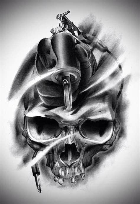 tattoo machine zombie skull tattoo gun designs drawings ink pinterest
