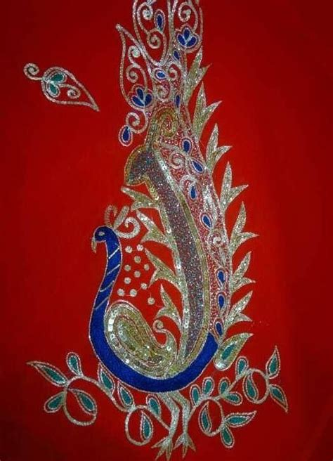 Kbl 040 Grand Peacock beautiful embroidered peacock motif traditional embroidery pinter