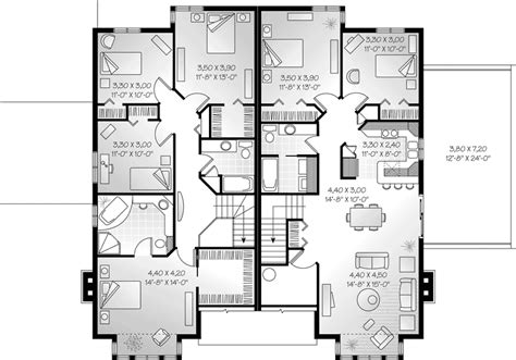 floor plan modern family house dempsey triplex multi family plan 032d 0376 house plans and more