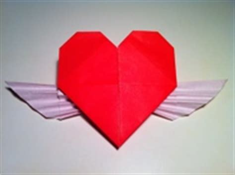 Origami Hearts With Wings - origami with wings and diagram