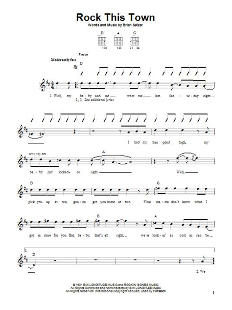 white room bass tab rock this town sheet direct