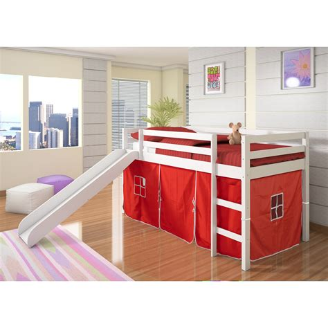 bed with slide and tent donco kids twin loft tent bed with slide white bunk