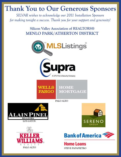 Thank You To Our Advertisers 2 by January 2011 Silicon Valley Association Of Realtors