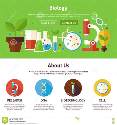 dna web page design template biology science flat web design template stock vector