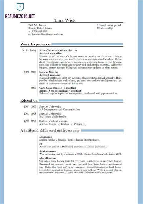 Resume Layout Exles 2016 Updated Resume Format 2016