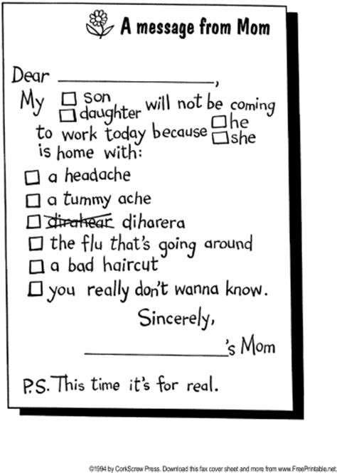 sick note template for school sick note fax cover sheet