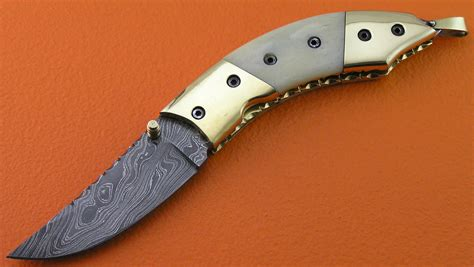 Custom Handmade Folding Knives - liner lock damascus folding knife custom handmade damascus