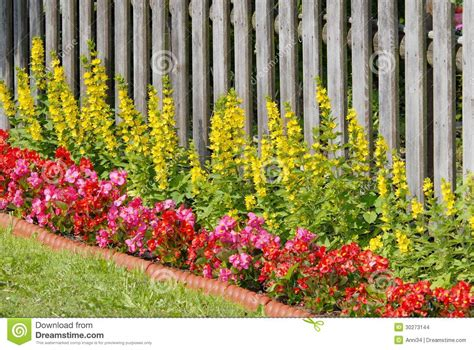 flower bed fence flower bed stock photo image of summer garden fence 30273144