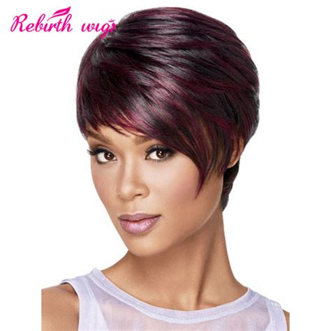 short hairstyle wigs for black women african american short wigs synthetic hair short burgundy
