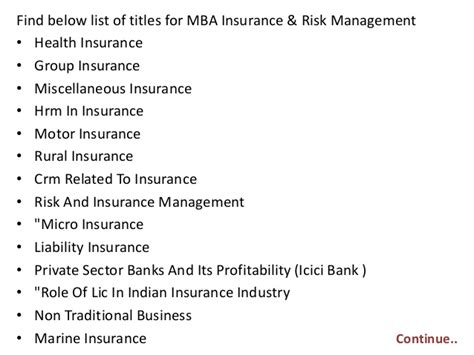 Mba In Insurance And Risk Management In India project report titles for mba in insurance risk management