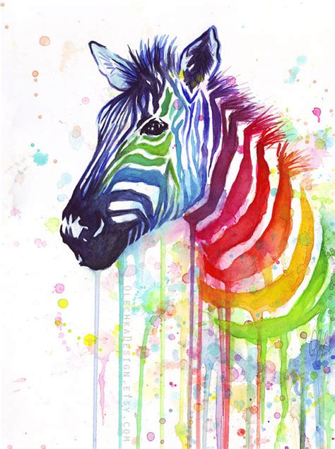 watercolor painting rainbow zebra colorful animal by olechkadesign