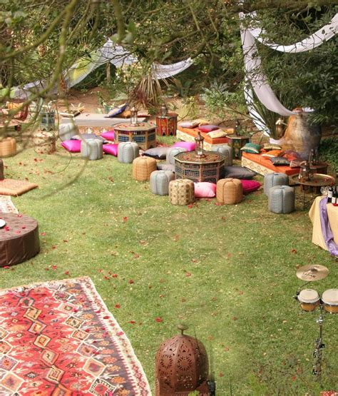 Decorating Backyard Wedding Bohemian Themed Event